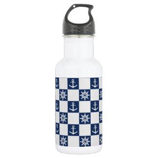 Garrafa D'água Checkered branco azul náutico