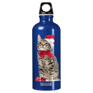 Garrafa D'água De Alumínio Gato do Natal - gato de Papai Noel - gatinho