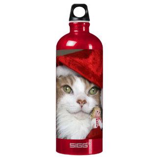 Garrafa D'água De Alumínio Gato do papai noel - gato do Natal - gatinhos