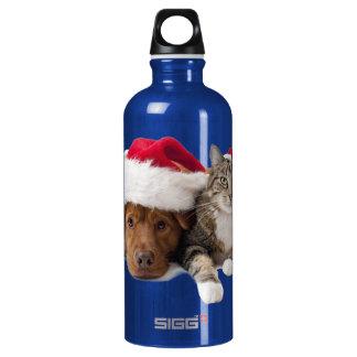 Garrafa D'água De Alumínio Gatos e cães - gato do Natal - cão do Natal