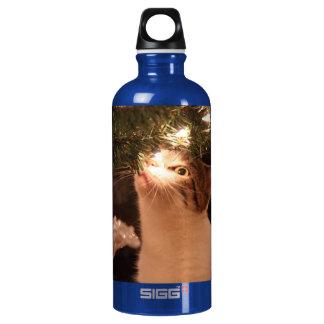 Garrafa D'água De Alumínio Gatos e luzes - gato do Natal - árvore de Natal