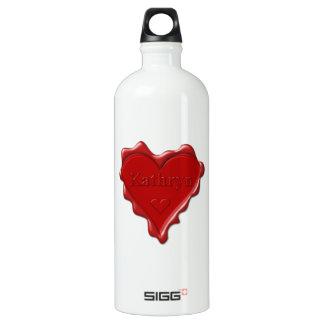 Garrafa D'água De Alumínio Kathryn. Selo vermelho da cera do coração com