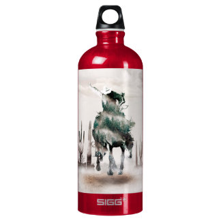 Garrafa D'água De Alumínio Rodeio - exposição dobro - vaqueiro - vaqueiro do