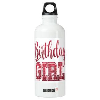 Garrafa D'água De Alumínio Texto vermelho da menina do aniversário