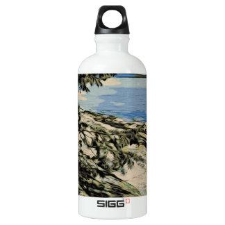 Garrafa D'água Estilo pacífico do woodblock da praia