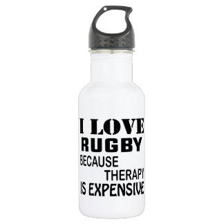 Garrafa D'água Eu amo o rugby porque a terapia é cara