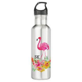 Garrafa D'água Flamingo cor-de-rosa bonito & buquê tropical das