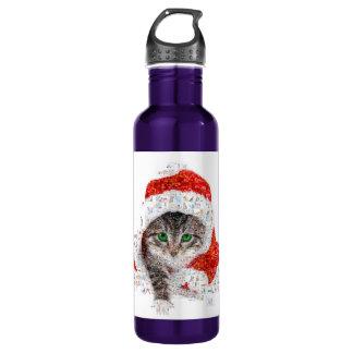 Garrafa D'água gato de Papai Noel - colagem do gato - gatinho -