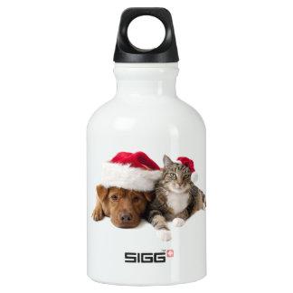 Garrafa D'água Gatos e cães - gato do Natal - cão do Natal