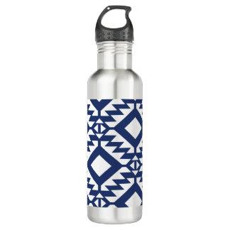 Garrafa D'água Geométrico azul e branco tribal
