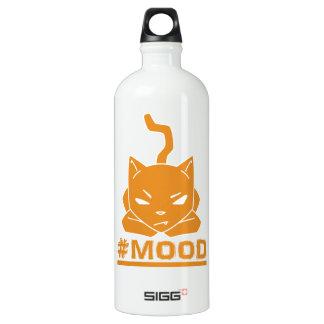 Garrafa D'água Ilustração alaranjada do logotipo do gato do #MOOD