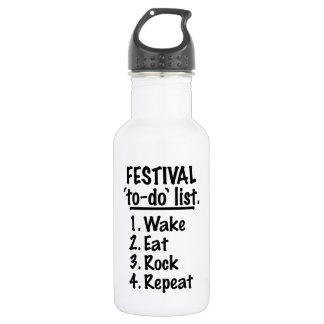 Garrafa D'água Lista do tumulto do ` do festival' (preto)