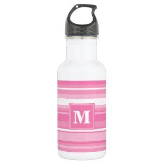 Garrafa D'água Listras cor-de-rosa do monograma