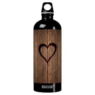 Garrafa D'água Madeira rústica impressão queimado do coração