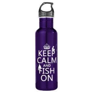 Garrafa D'água Mantenha a calma e pesque sobre - cores