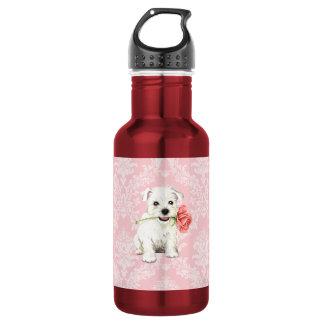 Garrafa D'água Namorados Westie cor-de-rosa