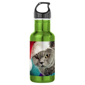 Garrafa D'água Natal cinzento do gato - gato do Natal - gato do