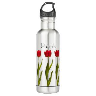Garrafa D'água Personalize:  Fotografia floral da tulipa vermelha