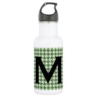 Garrafa D'água Personalize: Teste padrão verde e branco de