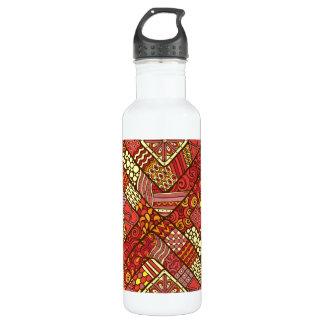 Garrafa D'água Teste padrão asteca tribal abstrato do vermelho