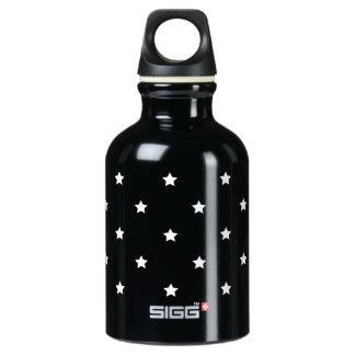 Garrafa D'água Teste padrão de estrelas preto e branco