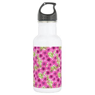 Garrafa D'água Teste padrão de flor cor-de-rosa do petúnia da