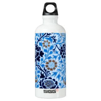 Garrafa D'água Teste padrão do Victorian no azul
