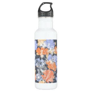 Garrafa D'água Teste padrão floral alaranjado violeta cinzento do