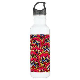 Garrafa D'água Teste padrão floral vibrante vermelho asiático