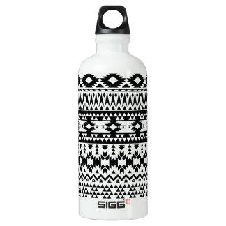 Garrafa D'água Teste padrão geométrico asteca preto e branco do