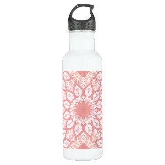 Garrafa D'água Teste padrão geométrico da mandala floral rosado