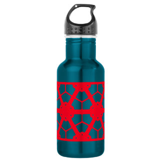 Garrafa D'água Teste padrão geométrico vermelho 4Lulu