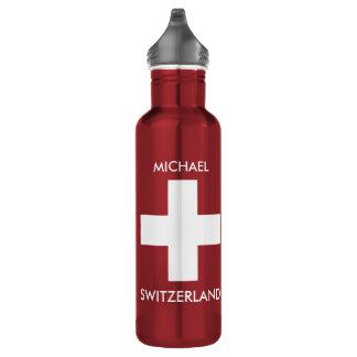 Garrafa D'água Viagem vermelho da bandeira suíça da suiça pessoal
