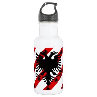 Garrafa De Aço Inoxidável Bandeira albanesa das listras