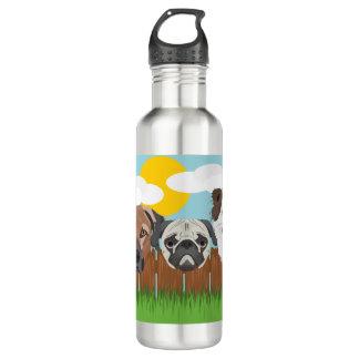 Garrafa De Aço Inoxidável Cães afortunados da ilustração em uma cerca de