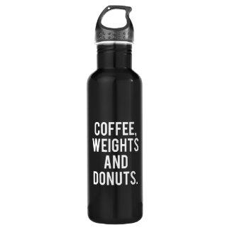 Garrafa De Aço Inoxidável Café, pesos e rosquinhas - Gym engraçado da