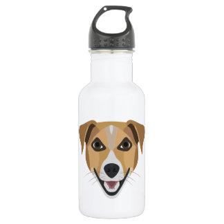 Garrafa De Aço Inoxidável Cão Terrier de sorriso da ilustração