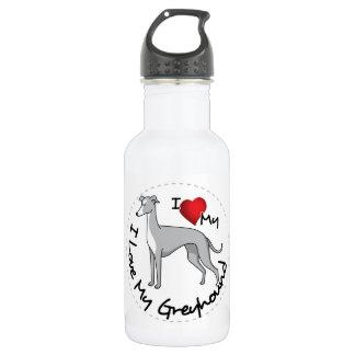 Garrafa De Aço Inoxidável Eu amo meu cão do galgo