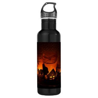 Garrafa De Aço Inoxidável Gato preto do Dia das Bruxas com luminares e