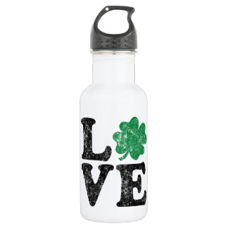 Garrafa De Aço Inoxidável Irlandês do trevo do AMOR do Dia de São Patrício