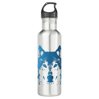 Garrafa De Aço Inoxidável Lobo do azul de gelo da ilustração