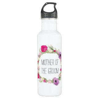 Garrafa De Aço Inoxidável Mãe da aguarela floral da grinalda do noivo