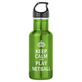 Garrafa De Aço Inoxidável Mantenha citações do Netball da calma e do jogo