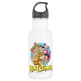 Garrafa De Aço Inoxidável Os Flintstones e o gráfico da família dos Rubbles