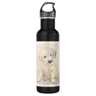 Garrafa De Aço Inoxidável Pintura do filhote de cachorro do golden retriever