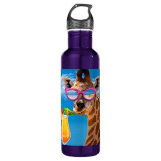 Garrafa De Aço Inoxidável Praia do girafa - girafa engraçado