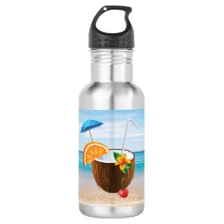 Garrafa De Aço Inoxidável Praia tropical, céu azul, areia do oceano, coco