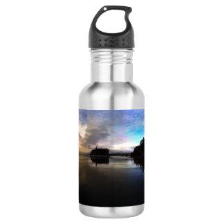 Garrafa De Aço Inoxidável Reflexão do por do sol da praia do rubi