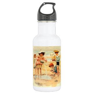 Garrafa De Aço Inoxidável Sandcastles do litoral da praia das crianças do