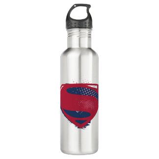 Garrafa De Aço Inoxidável Símbolo do superman da escova & da reticulação da